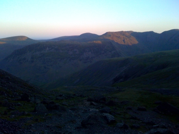 Sun trying to rise over the Lakes. Set off from Wasdale Head 04:05am, headtorches on