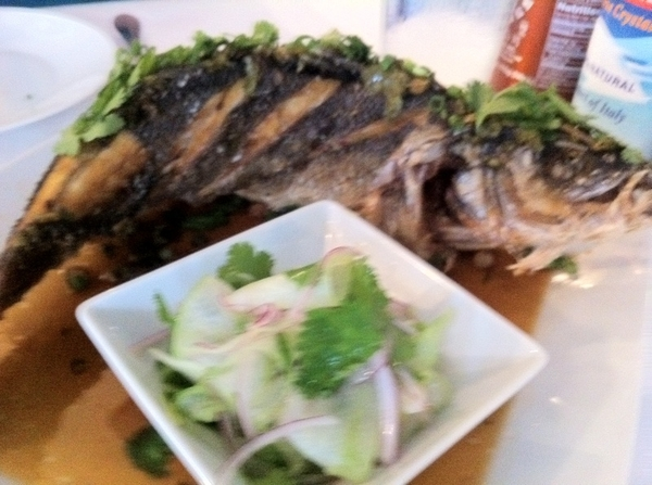 Sandbar: whole branzino with Asian dipping sauce and cuke salad. This resto=gr8 reason to come to San Antonio