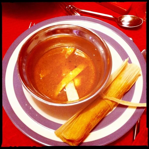 Tortilla soup and tamales