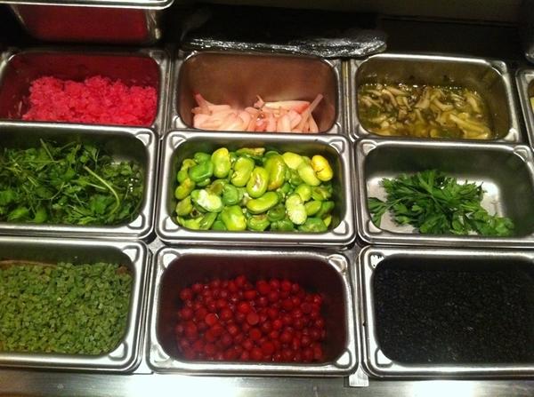 Topolo mise en place:center: pkld ramps, rstd favas, jamaica-pkld jícama.Bottom incl salt-cure nopal,dehydro olive