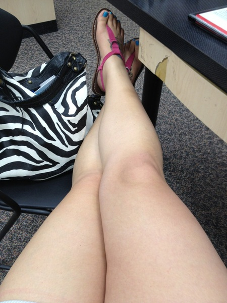 My legs while hanging out with my sister at her work. #thighthursday