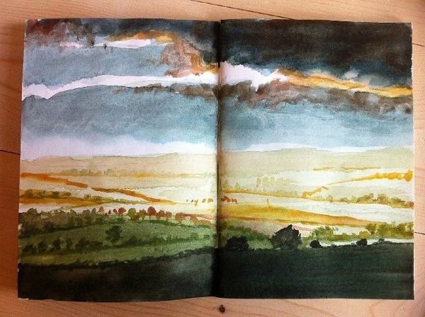 """Pages of Open Fields"" watercolour in sketch book"