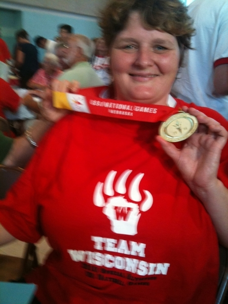 Pic of Ann with Special Olympics Nationals Gold Medal she won yesterday...Ann just won gold in 4 x 100 free relay!