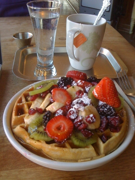 Whole wheat waffle with fresh fruit! #breakfastofchampions