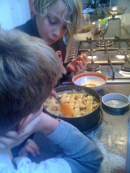 Boys working on apple pie -2-