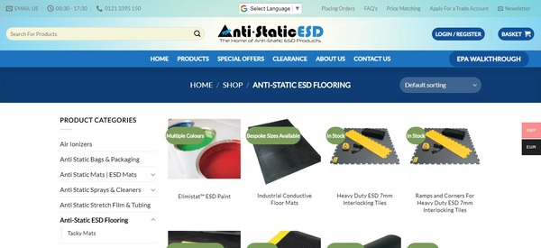 Anti static floor tiles