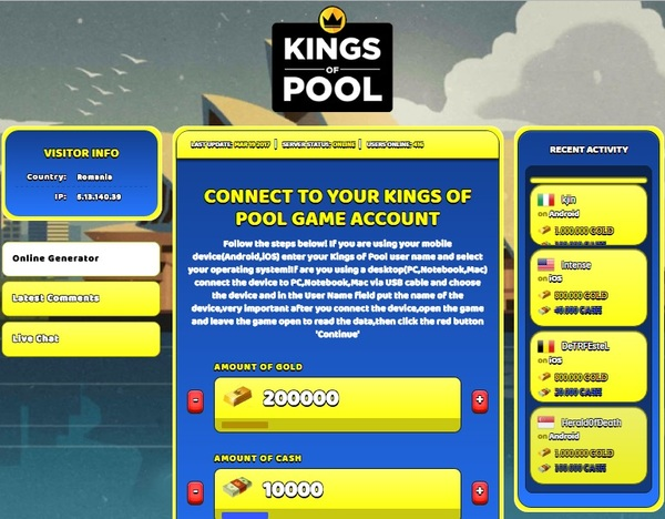 Kings of Pool Hack Cheat Generator Gold and Cash Unlimited