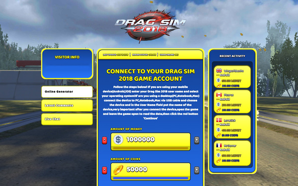 Drag Sim 2018 Hack Cheat Generator Money and Coins Unlimited