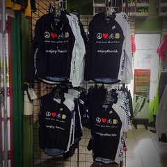 "Just arrived in shop more of our shop jerseys and clothing. Designed by our own @mmmkeh (Colin. ) ""Peace, Love, Bikes, and Beer. "" Jerseys available in short and long sleeve. We are now restocked on our wind guard jackets and NEW are our wind guard vests. Sizing from medium to xxl.  #supportyourlocalbikeshop #northerncycle #peacelovebikesandbeer #enjoytheride @championsystem"
