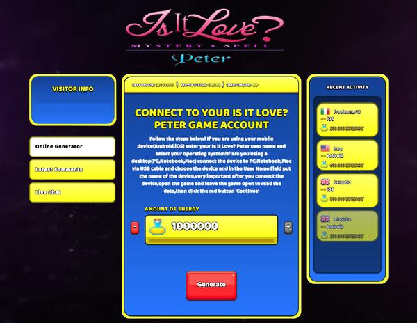Is It Love? Peter Hack Cheat Generator Energy