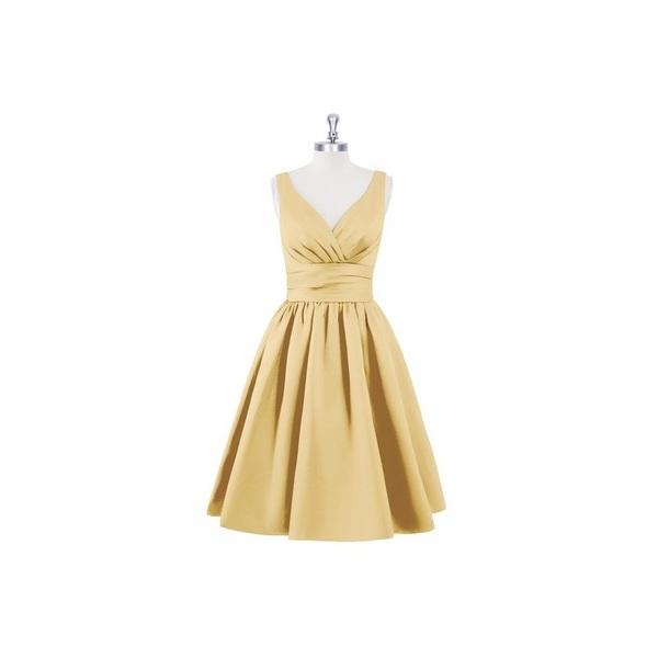 Gold Azazie Alexandra - Back Zip V Neck Knee Length Satin Dress - Simple Bridesmaid Dresses & Easy Wedding Dresses