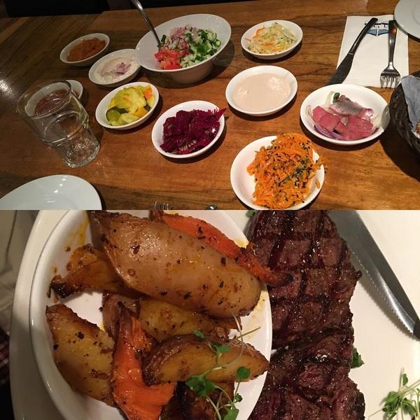 Steak and salad, Israeli style.