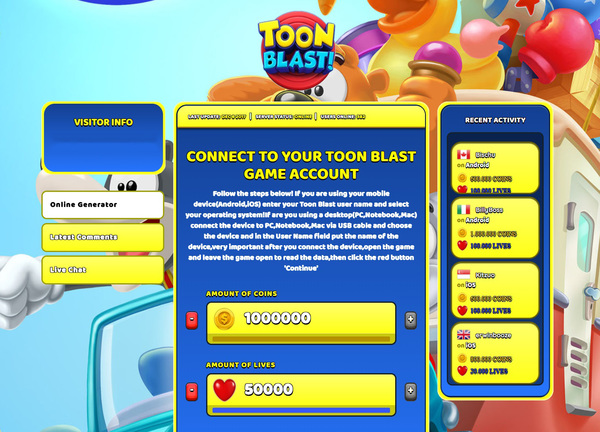 Toon Blast Hack Cheat Generator Coins and Lives Unlimited