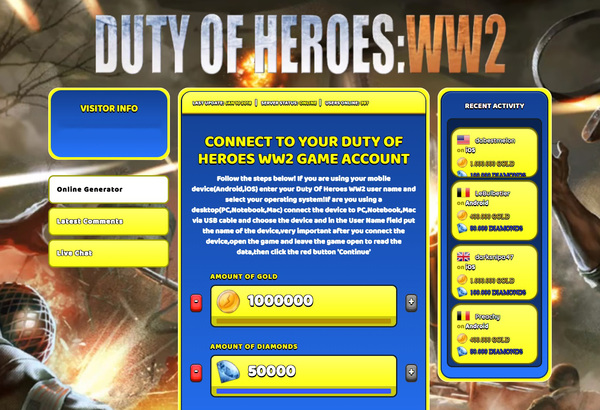 Duty Of Heroes WW2 Hack Cheat Generator Gold and Diamonds Unlimited