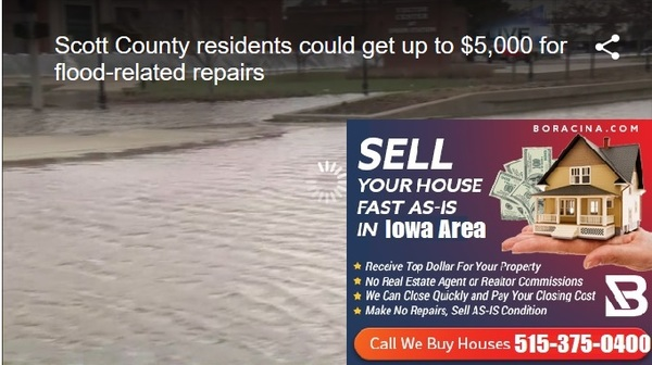 We buy flood house in SCOTT COUNTY, Iowa sell my water damage home