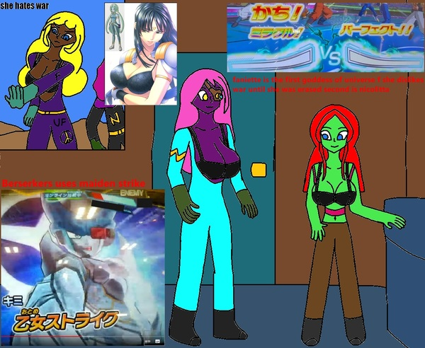 Visenia a purple sapphire meets janilla a torbernite jovian hybrid person female as made the first goddess of universe f is good likes peaceful universal hated war like nicolitta soldiers