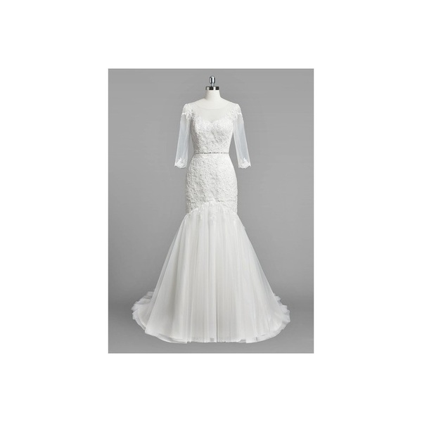 Ivory Azazie Dale BG - Court Train Illusion Button Tulle And Lace Dress - Cheap Gorgeous Bridesmaids Store
