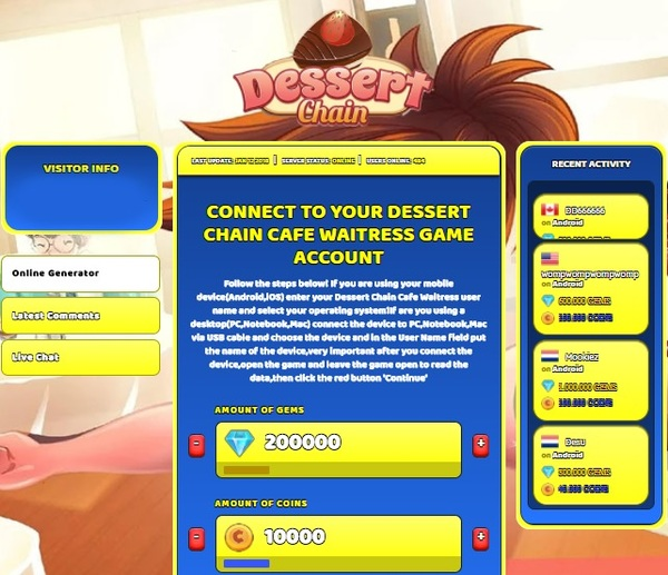 Dessert Chain Cafe Waitress Hack Cheat Generator Gems and Coins