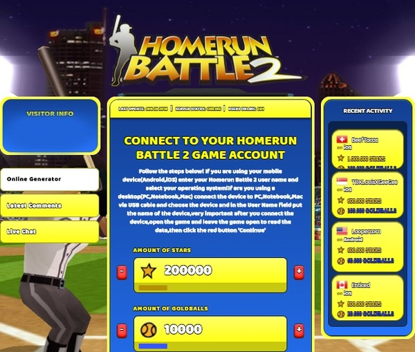 Homerun Battle 2 Hack Cheat Generator Stars and Goldballs Unlimited