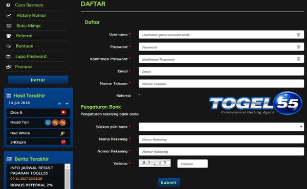 Daftar Mudah Judi Togel Online Indonesia | Togel55