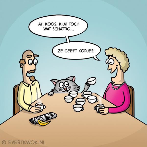 Ah Koos, kijk toch wat schattig...  nr. 61 uit http://bit.ly/de100slechtstewoordgrappen #cartoon