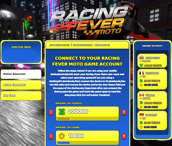 Racing Fever Moto Hack Cheat Generator Tickets and Coins