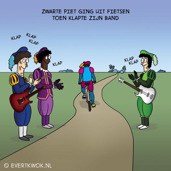 Zwarte Piet ging uit fietsen... #cartoon #sinterklaas #zwartepiet