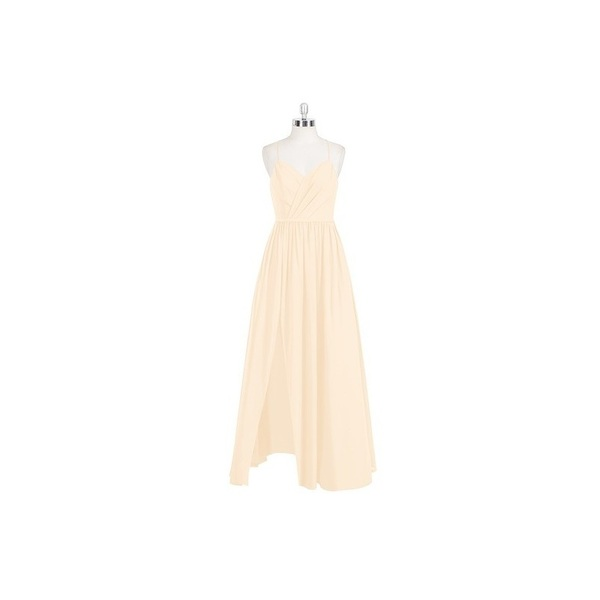 Peach Azazie Cora - V Neck Back Zip Floor Length Chiffon - Simple Bridesmaid Dresses & Easy Wedding Dresses