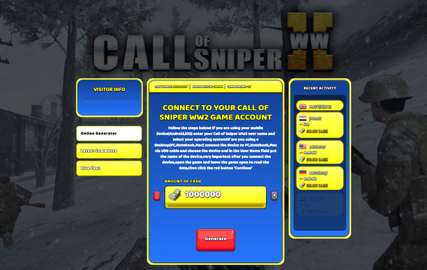 Call of Sniper WW2 Hack Cheat Generator Cash Unlimited