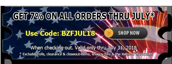 Big Z Fabric's July Discount