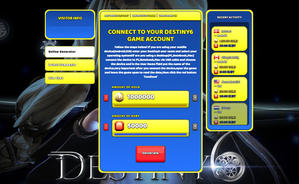 Destiny6 Hack Cheat Generator Gold and Ruby Unlimited