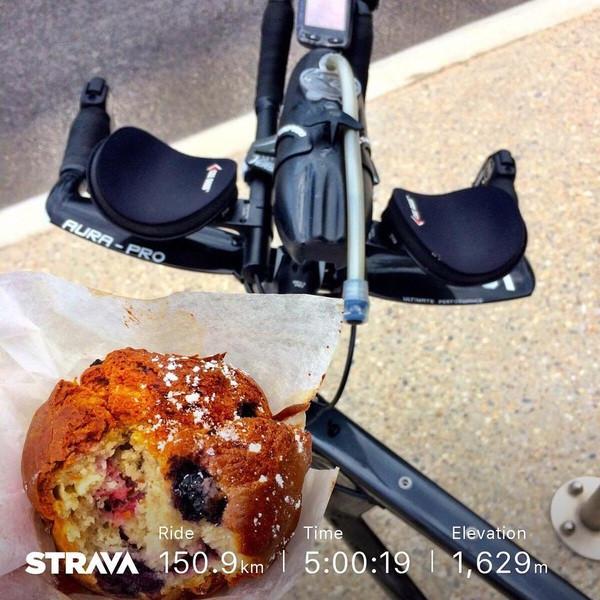 Sometimes you just need an emergency muffin for that last half an hour. Solid ride to finish a good week of training.
