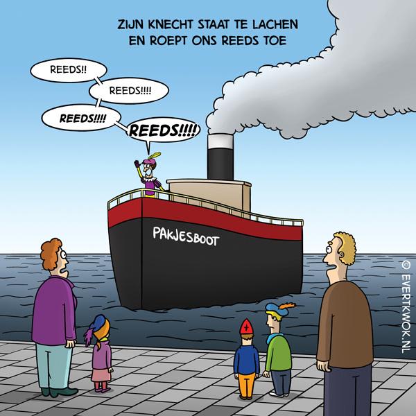 Zijn knecht staat te lachen... #cartoon