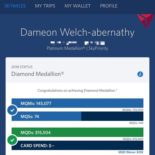 Made Diamond Medallion in the nick of time! Should make flying just a little nicer.
