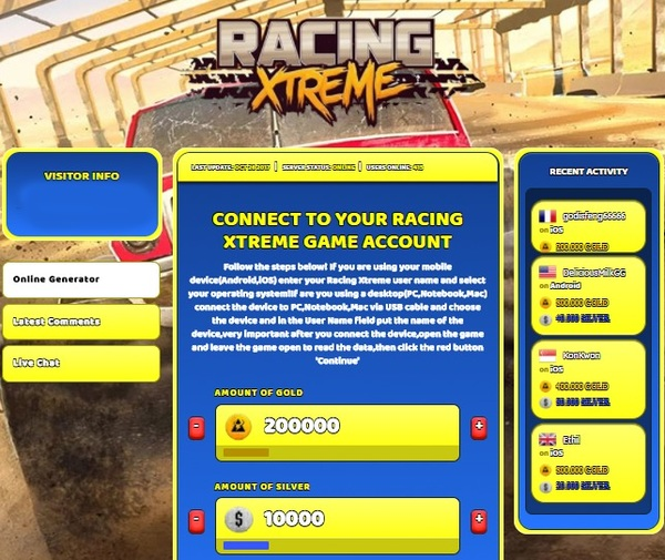 Racing Xtreme Hack Cheat Online Generator Gold and Silver Unlimited