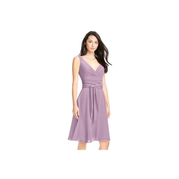 Wisteria Azazie Diana - Back Zip V Neck Chiffon Knee Length Dress - Charming Bridesmaids Store