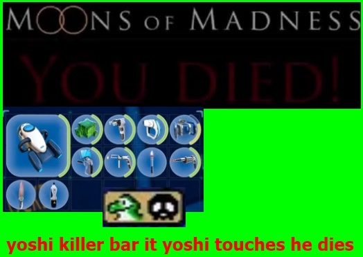yoshi killer bar appears it he touches the land yellow red and blue yoshi dies as instant kill