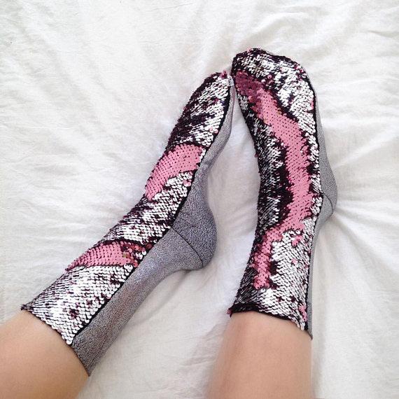 Reversible Sequins Socks