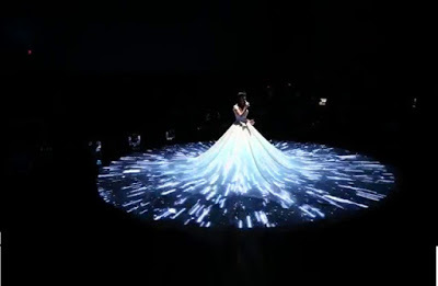 3D interactive projection on wedding dress
