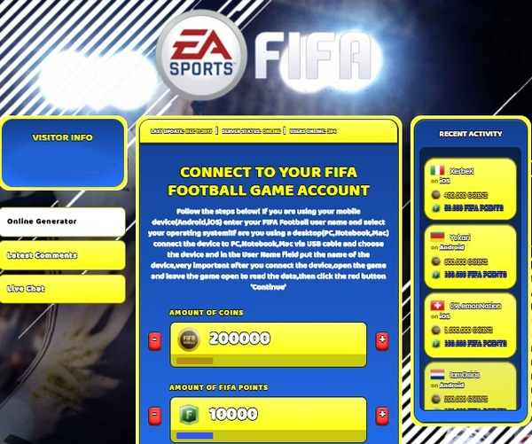 FIFA Football Hack Cheat Generator Coins and Fifa Points Unlimited
