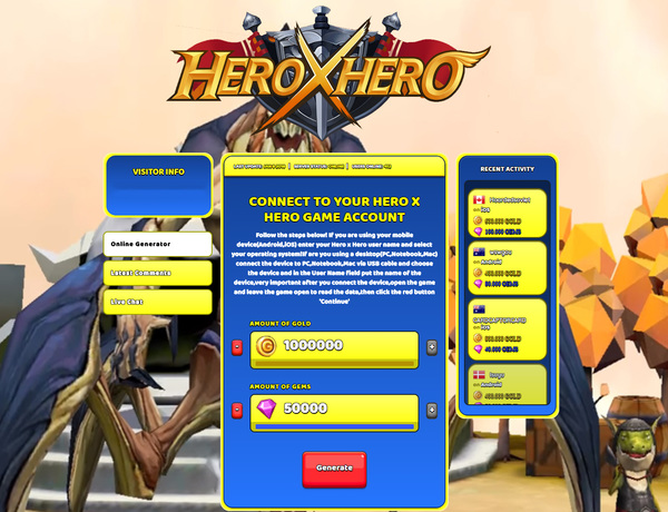 Hero x Hero Hack Cheat Generator Gold and Gems Unlimited