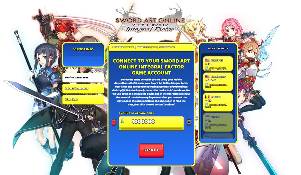Sword Art Online Integral Factor Hack Arcana Gems Generator 2018
