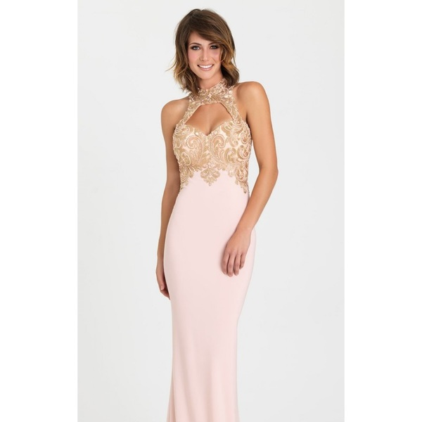 Shell Pink Beaded Jersey Gown by Madison James Special Occasion - Color Your Classy Wardrobe