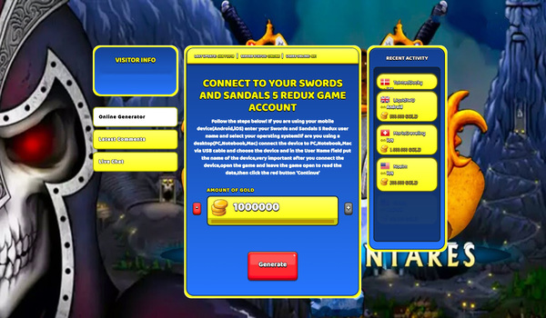 Swords and Sandals 5 Redux Hack Cheat Generator Gold Unlimited