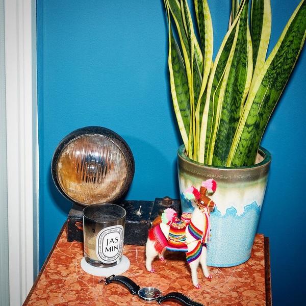 Nachtkastje in @andcgram #magazine 📸 @valentinavos #designlamp van mij pap, rare lama uit #argentina favo #geurkaars #horloge van mijn verloofde en de bloempot die ik eigenlijk niet van hem mocht kopen omdat we al zoveel bloempotten hebben, maar dat je dan toch stiekem alleen terug gaat naar de winkel omdat je vind dat je gewoon niet zonder kan 😂 #slaapkamer #nachtkastje #tijdschrift #mijnbitjehadikeven verstopt #plant #blue #interior #homesweethome #amsterdam #goedemorgen