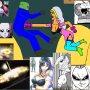 Onslaught nisella vasetta prepares another attack on lamia loveless she is team universe 355 wearing green helmet