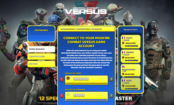 Modern Combat Versus Hack Cheat Generator Coins and Diamonds Unlimited