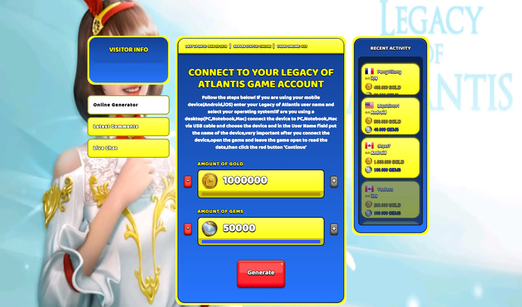 Legacy of Atlantis Hack Gold and Gems Generator No Survey Working