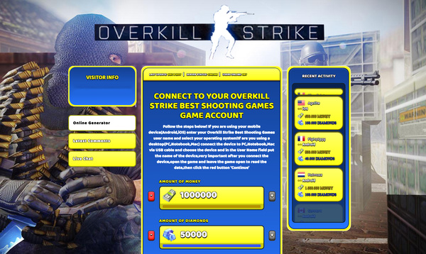 Overkill Strike Best Shooting Games Hack Cheat Generator Money and Diamonds Unlimited
