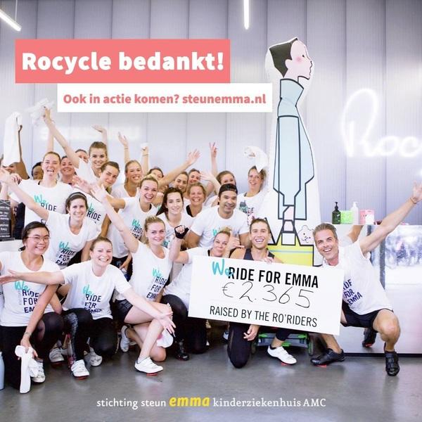 Wat een goede actie! @rocyclestudios en haar leden kwamen in actie en brachten met spinning-lessen 2.365 euro bij elkaar! 🚲  Zelf ook een actie opzetten? Dat kan, link in bio!  #steunemma #emmakinderziekenhuis #actievoorhetemma #spinning #spinnen #goeddoel #rocycle #rideforemma